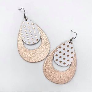 Rose Double Layered Polka dot teardrop Earrings